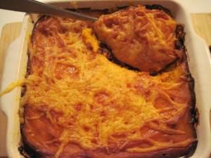 Sweet potato cottage pie ready to serve